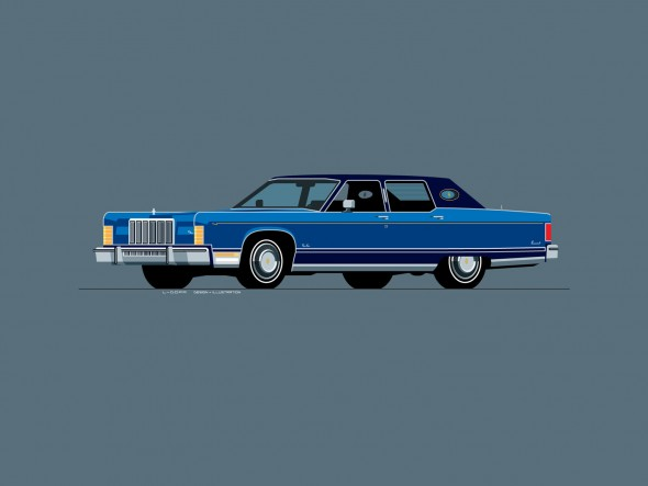 1975 Lincoln Continental, drawn by L-Dopa